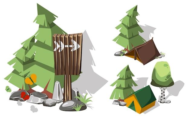 Elementi di campeggio 3d isometrici per la progettazione del paesaggio.