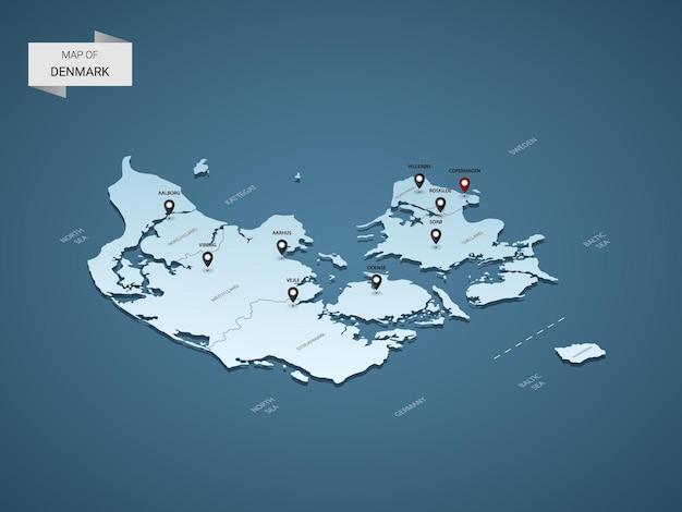 Concetto isometrico dell'illustrazione della mappa della danimarca 3d