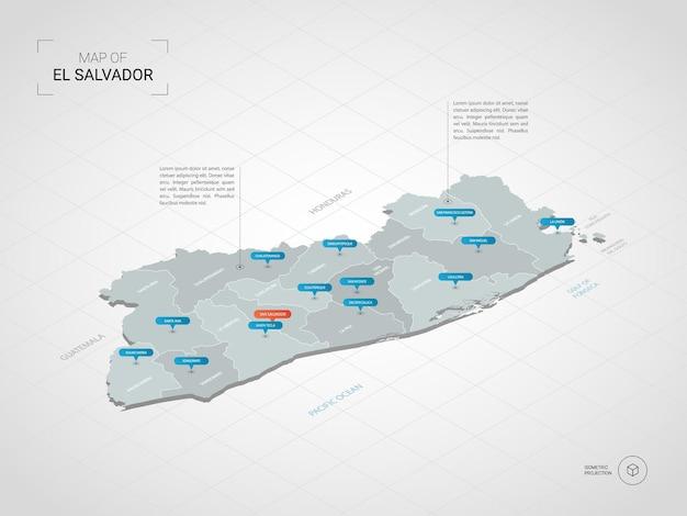 Mappa isometrica 3d di el salvador.