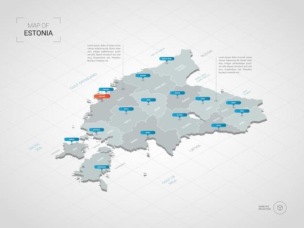 Mappa 3d isometrica dell'estonia.