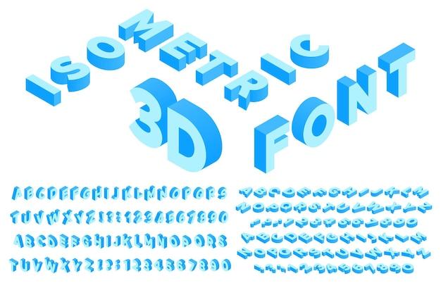 Carattere 3d isometrico. lettere dell'alfabeto in prospettiva, numeri e segni di punteggiatura o simboli. modello di isometria abc inglese o latino. insieme di lettere isolato. illustrazione vettoriale di tipografia geometrica