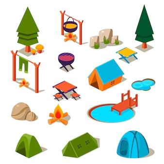Elementi di campeggio della foresta isometrica 3d per l'insieme del paesaggio