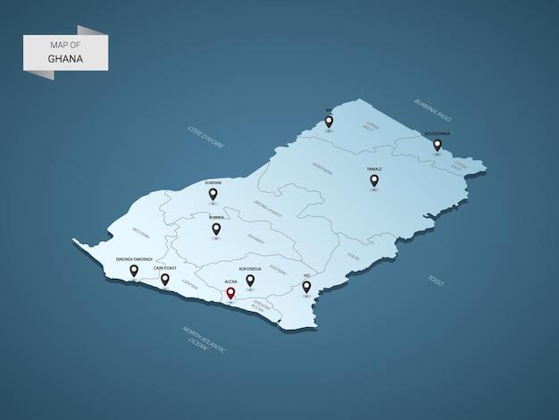Mappa 3d isometrica del ghana, illustrazione con città, confini, capitale, divisioni amministrative e segni di puntatore