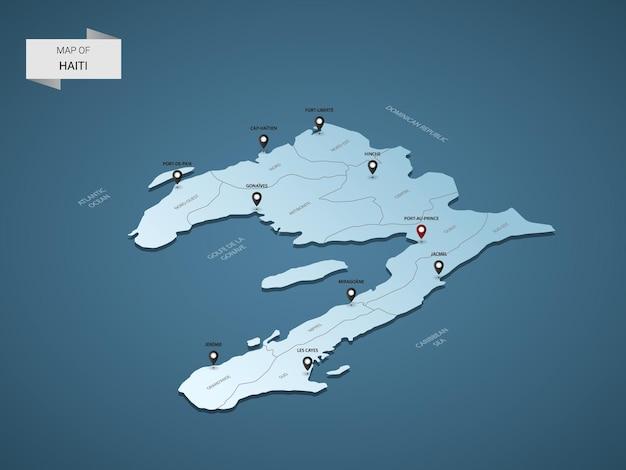 Mappa 3d isometrica di haiti, illustrazione con città, confini, capitale, divisioni amministrative e segni di puntamento