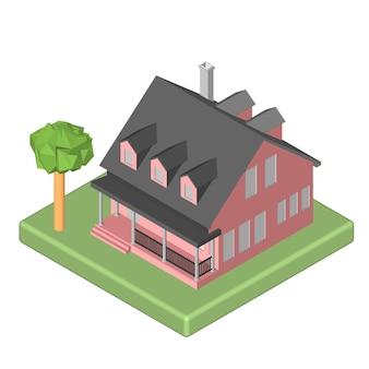 Icona 3d isometrica. casa di pittogrammi con una cassetta delle lettere e alberi. illustrazione vettoriale eps 10.