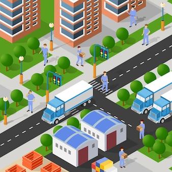Illustrazione 3d isometrica del quartiere della città con le case