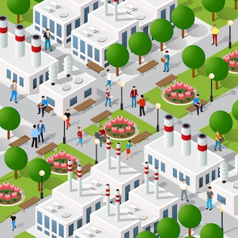 Illustrazione 3d isometrica del quartiere della città del distretto industriale con le case