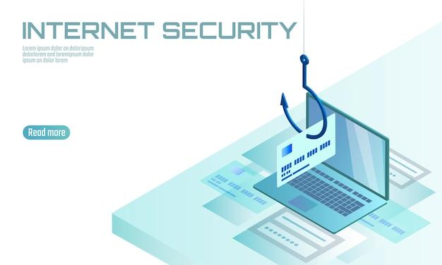 Phishing della password di cvv della carta di credito del computer portatile isometrico 3d. hackup di truffa online tramite e-mail con account di informazioni personali. illustrazione del modello di concetto dello spam di sicurezza di internet dell'antivirus dello spam