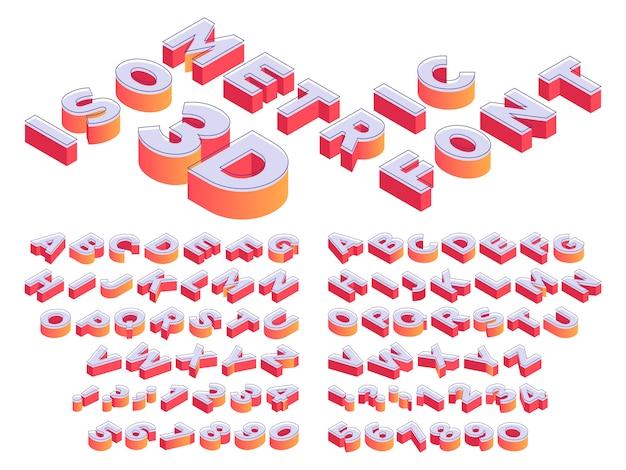 Lettering 3d isometrico. carattere lettere prospettiva, numero cubo e modello di isometria lettera dell'alfabeto