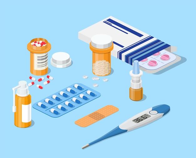 Concetto di farmacia 3d isometrica.