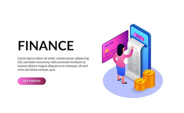 Telefono 3d isometrico con transazione di fattura, carta e concetto di illustrazione di app della banca di finanza di moneta