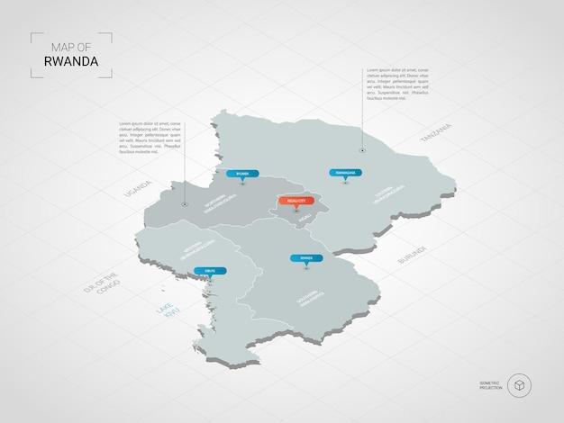 Mappa 3d isometrica del ruanda.