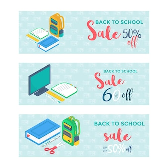 Materiale scolastico 3d isometrico con schermo, zaino, penna, gomma, libro, quaderno e righello.