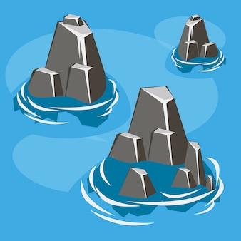 Isola isometrica della roccia del mare 3d