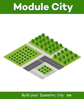 Foresta di alberi isometrica 3d