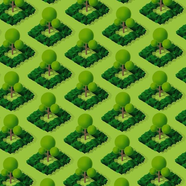Elementi isometrici della natura del campeggio della foresta del parco degli alberi 3d per la progettazione del paesaggio. illustrazione vettoriale per mappe della città, giochi e la tua città