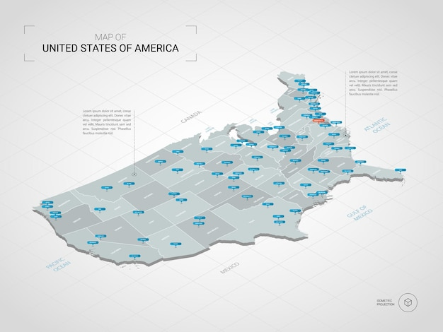 Mappa 3d isometrica degli stati uniti d'america usa.