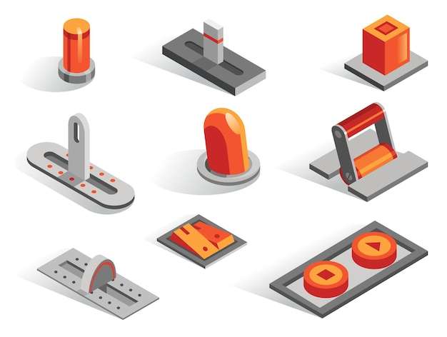 Vari pulsanti isometrici o 3d impostati. raccolta di icone isolate in diversi da. leve cursori regolatori alternano regolatori e interruttori in colore grigio e arancione.