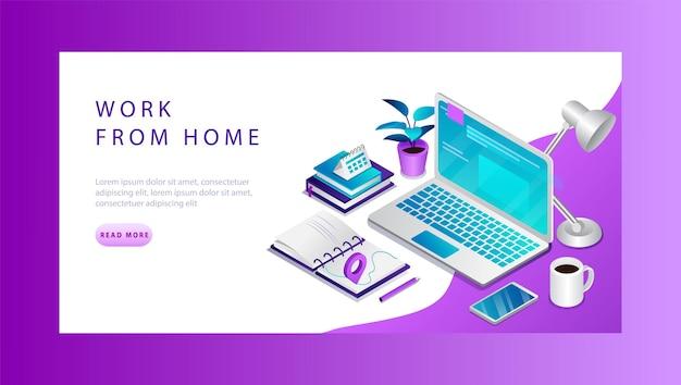 Lavoro 3d isometrico dal concetto di casa