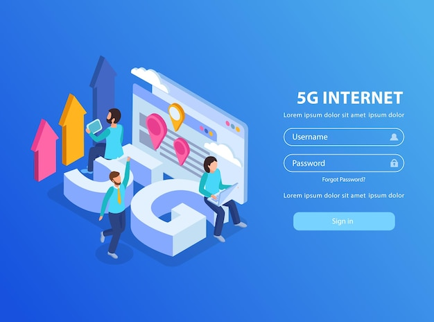 Schermata di accesso a internet isometrica 5g