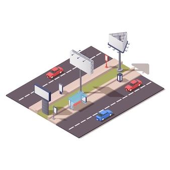Composizione di costruzioni pubblicitarie isometriche con supporto per tabellone per le affissioni unipol lungo l'illustrazione 3d della strada della città
