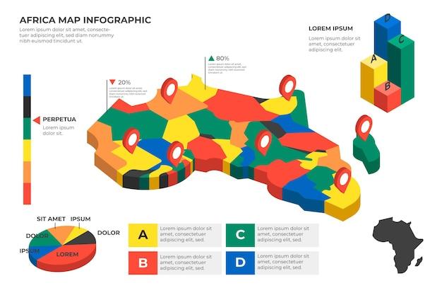 Mappa isometrica africa infografica