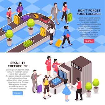 Aeroporti isometrici impostati con l'illustrazione del testo