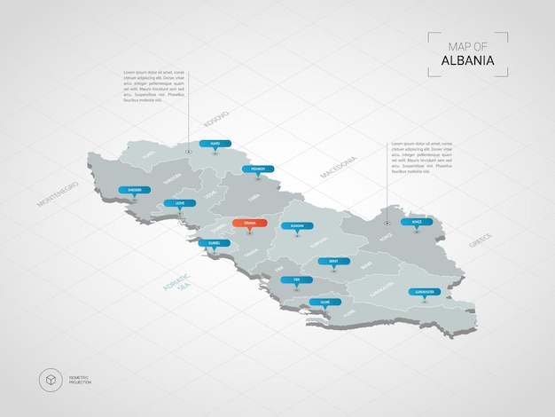 Mappa isometrica dell'albania.
