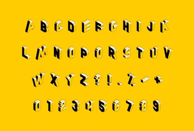 Alfabeto isometrico su sfondo giallo. lettere maiuscole vintage alla moda, numeri e segni facili da modificare e personalizzare.