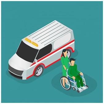 Emergenza ambulanza isometrica Vettore Premium