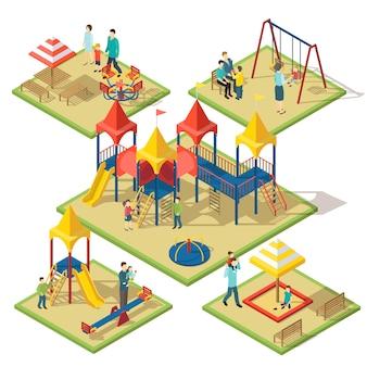 Composizione area divertimenti isometrica
