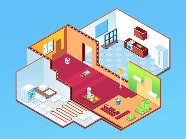 Appartamento isometrico durante la riparazione o casa, stanze di casa in fase di ristrutturazione