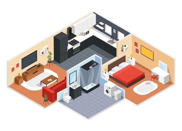 Appartamento isometrico interno moderno dell'appartamento con camera da letto soggiorno cucina bagno 3d