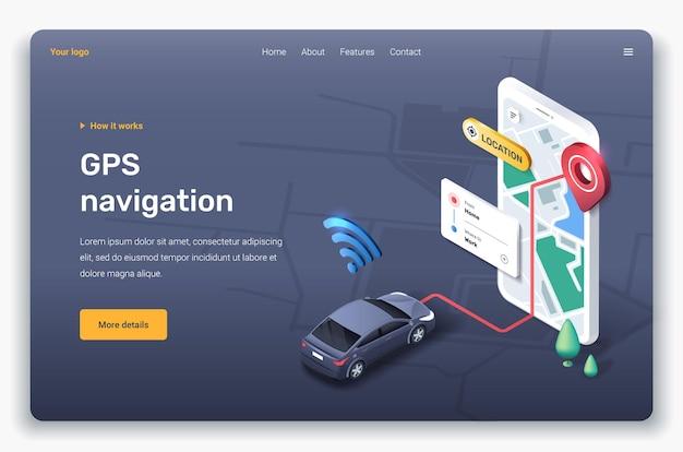 Applicazione isometrica con mappa, auto, segnaposto e gps. modello di pagina di destinazione.