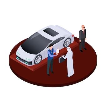 L'uomo arabo isometrico compra il concetto moderno dell'automobile elettrica. illustrazione di lusso auto salone