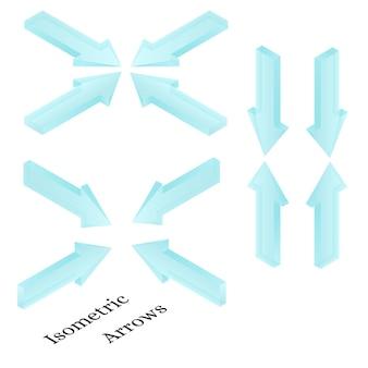 Frecce isometriche. frecce di ghiaccio realistiche. acqua congelata sotto forma di direzione delle frecce. icone di freccia blu chiaro trasparente. design per sito web, giochi per pc. illustrazione vettoriale.