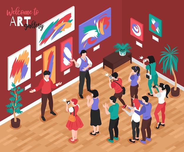 Composizione in galleria d'arte isometrica con illustrazione di scenario espositivo al coperto