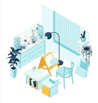 Mobile artista isometrico con cavalletto e mobili per la casa