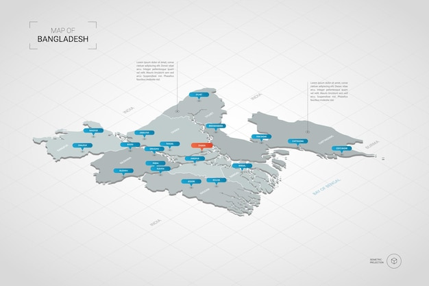 Mappa isometrica del bangladesh.