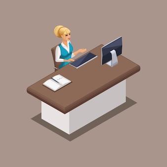 Impiegato di banca isometrica, un direttore di banca al lavoro in un ufficio di banca. struttura bancaria in funzione