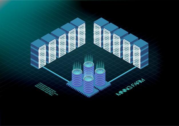 Insegna isometrica con l'azienda agricola di estrazione mineraria del bitcoin, concetto di estrazione mineraria di criptovaluta, 3d isometrico finanziario. ethereum blockchain isometrico, rack per sala server. server farm di mining di criptovaluta.