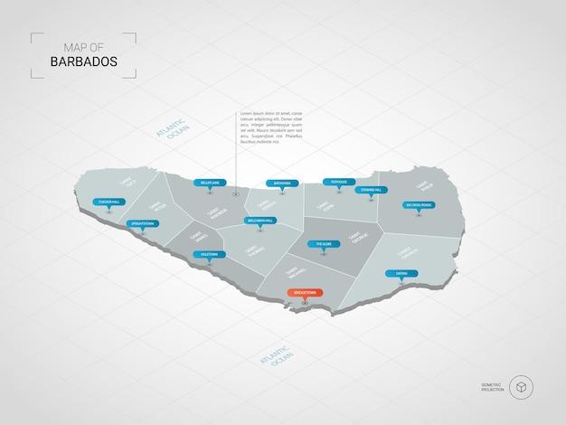 Mappa isometrica delle barbados. illustrazione stilizzata della mappa con città, confini, capitale, divisioni amministrative e indicatori di direzione; sfondo sfumato con griglia.