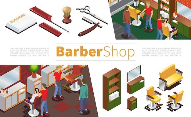 Isometrica composizione da barbiere con parrucchieri clienti asciugamani spazzola forbici pettini rasoio armadio specchio sedie divano