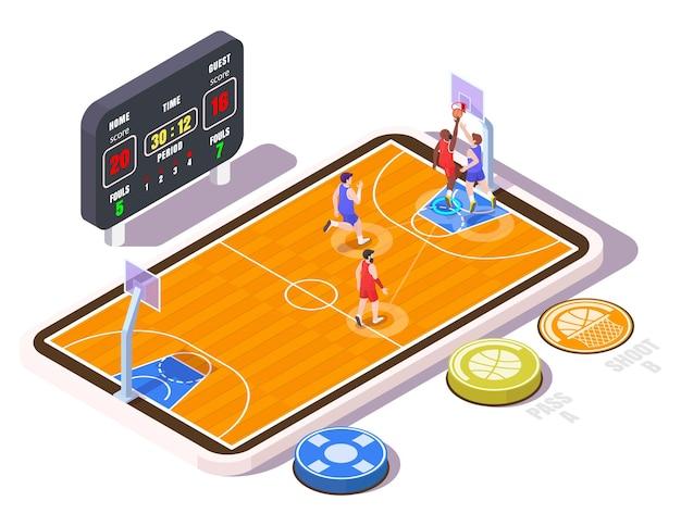 Campo da basket isometrico con giocatori sullo schermo dello smartphone illustrazione vettoriale piatto basket mob...
