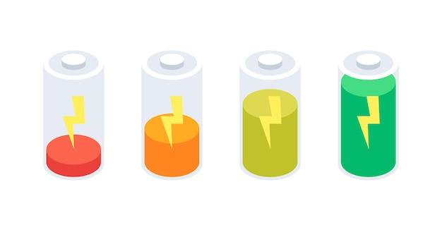 Icone isometriche della batteria messe isolate su fondo bianco. illustrazione vettoriale.