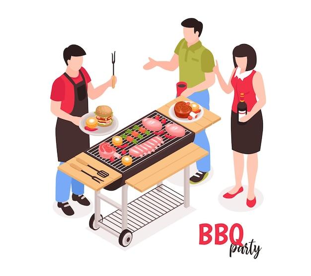 Composizione isometrica barbecue barbecue con illustrazione di personaggi umani senza volto