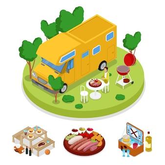 Festa picnic isometrica barbecue camper. campo di vacanze estive