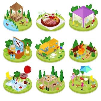 Illustrazione isometrica di picnic barbecue