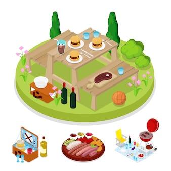 Illustrazione isometrica bbq picnic party