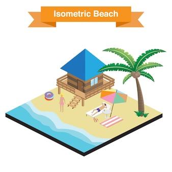 Vettore spiaggia isometrica.